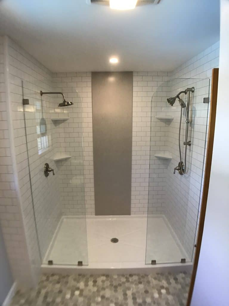 After bath tub to shower conversion with previous Jacuzzi removed